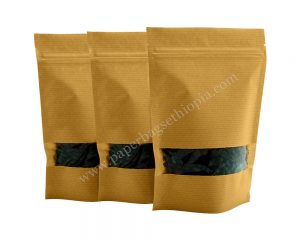 Brown Stripped full Rectangle Window Paper Bag