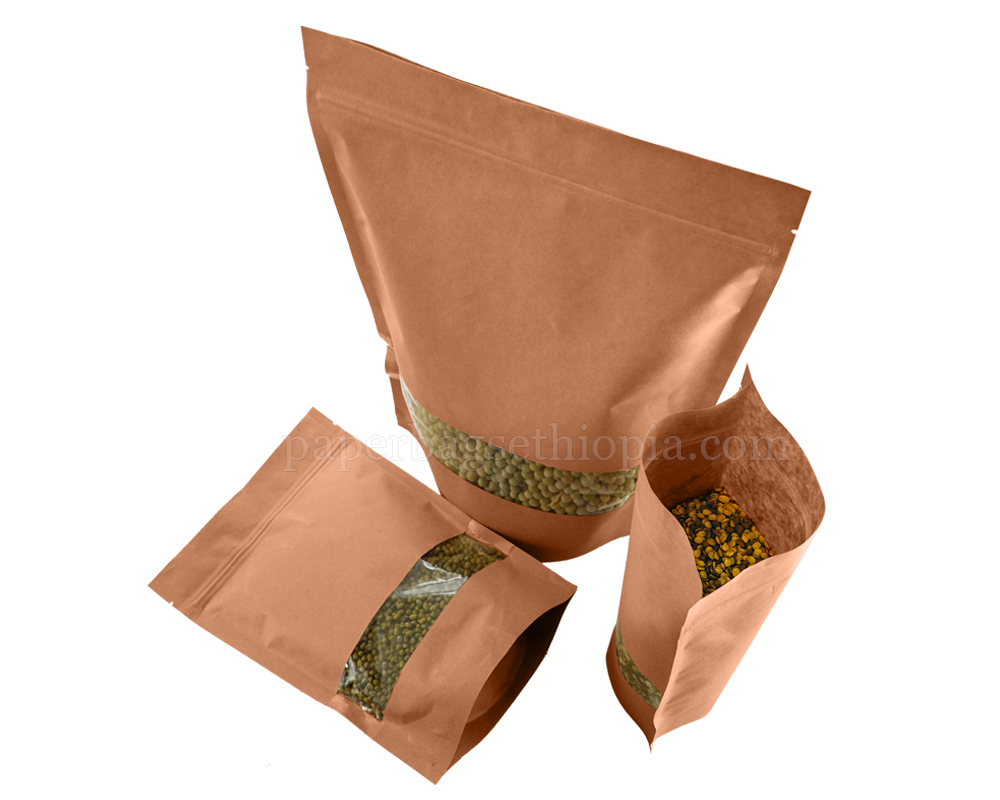 Brown Paper Bag With Full Rectangle Window