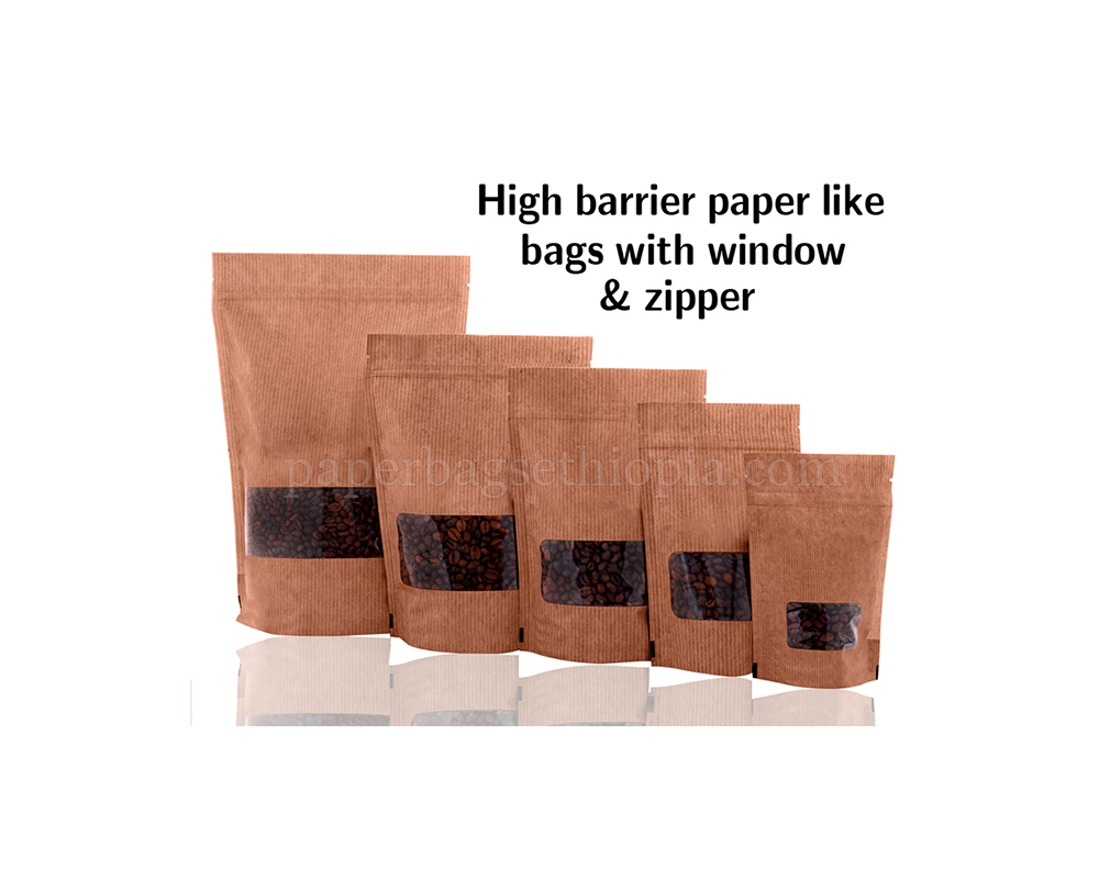 High Barrier Paper Like Bags with Window & Zipper