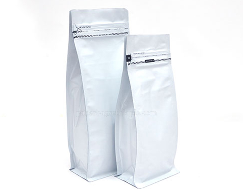 Matt White Pouches with Tear Off Zipper