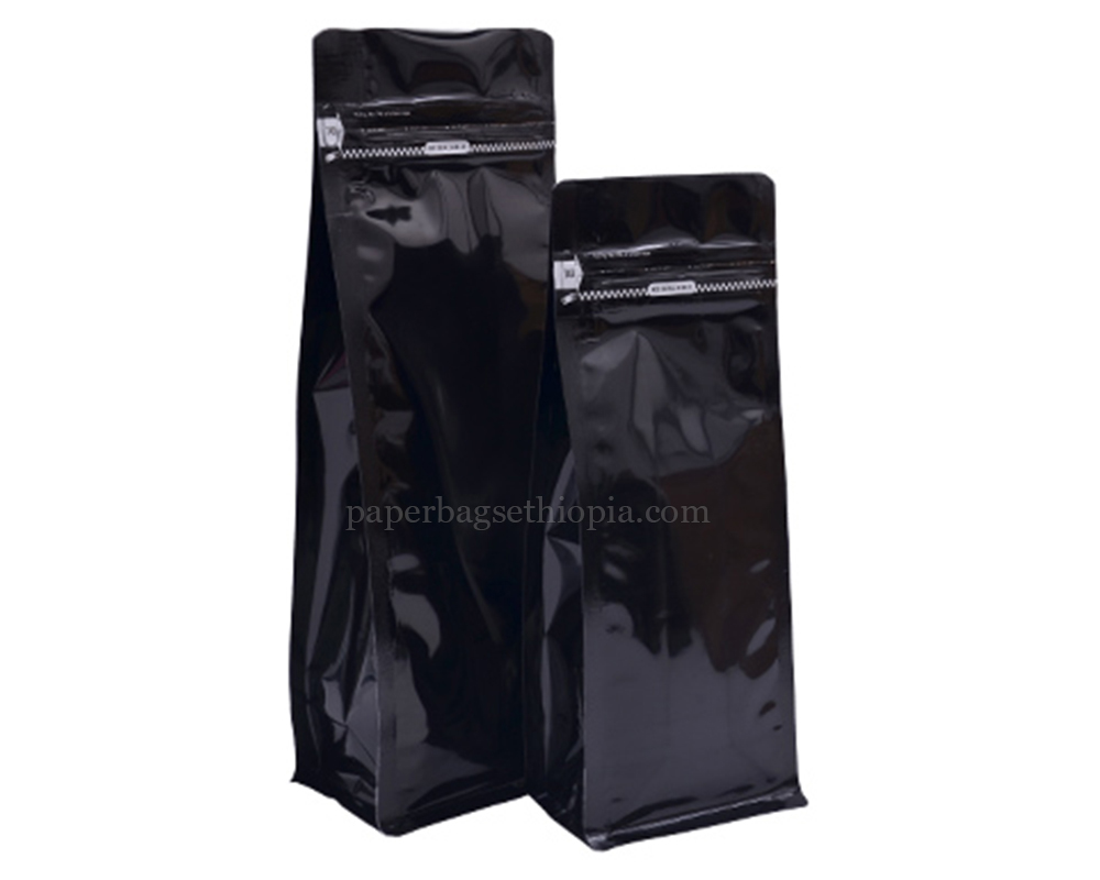 Shiny Black Pouches with Tear Off Zipper