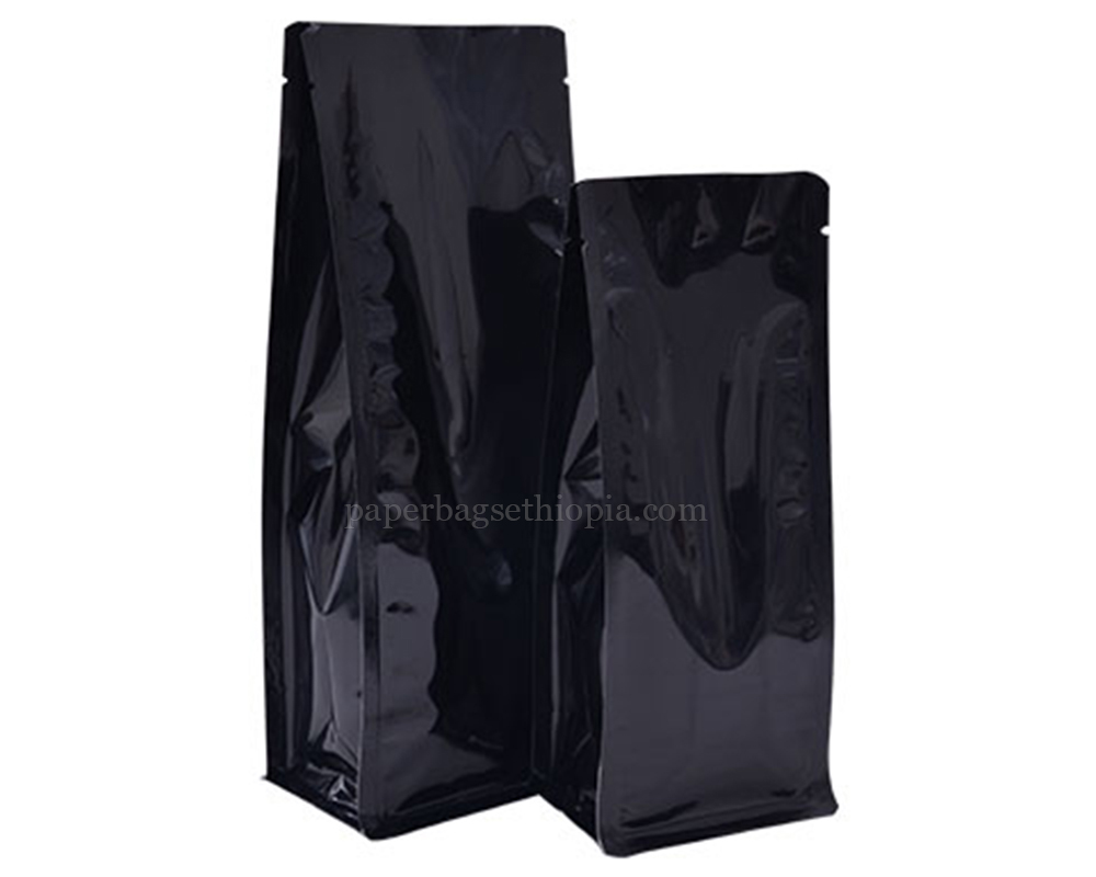 Shiny Black Pouches Bags Without Zipper